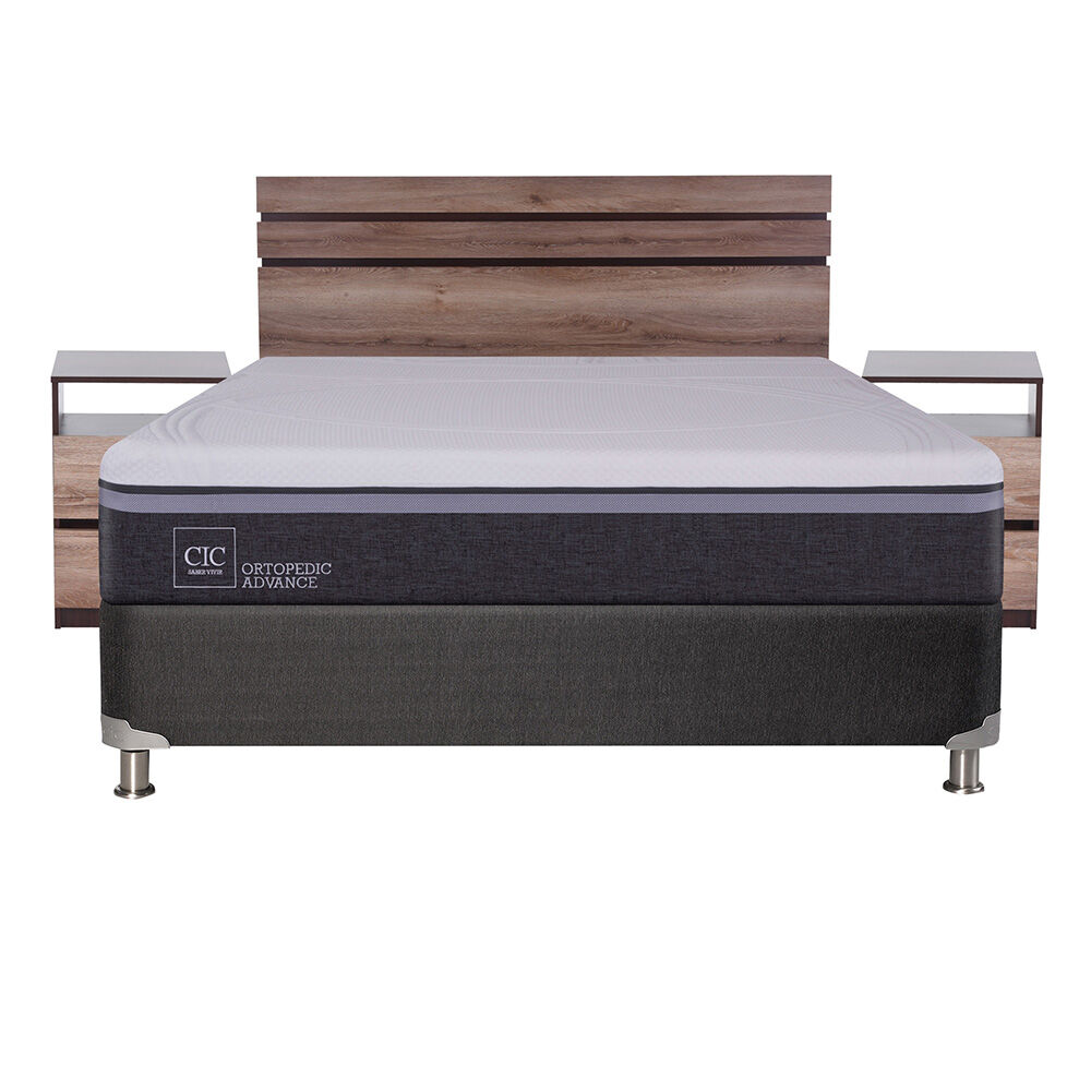 Box Spring Cic Ortopedic Advance / 2 Plazas / Base Normal + Set De Maderas Ares image number 1.0