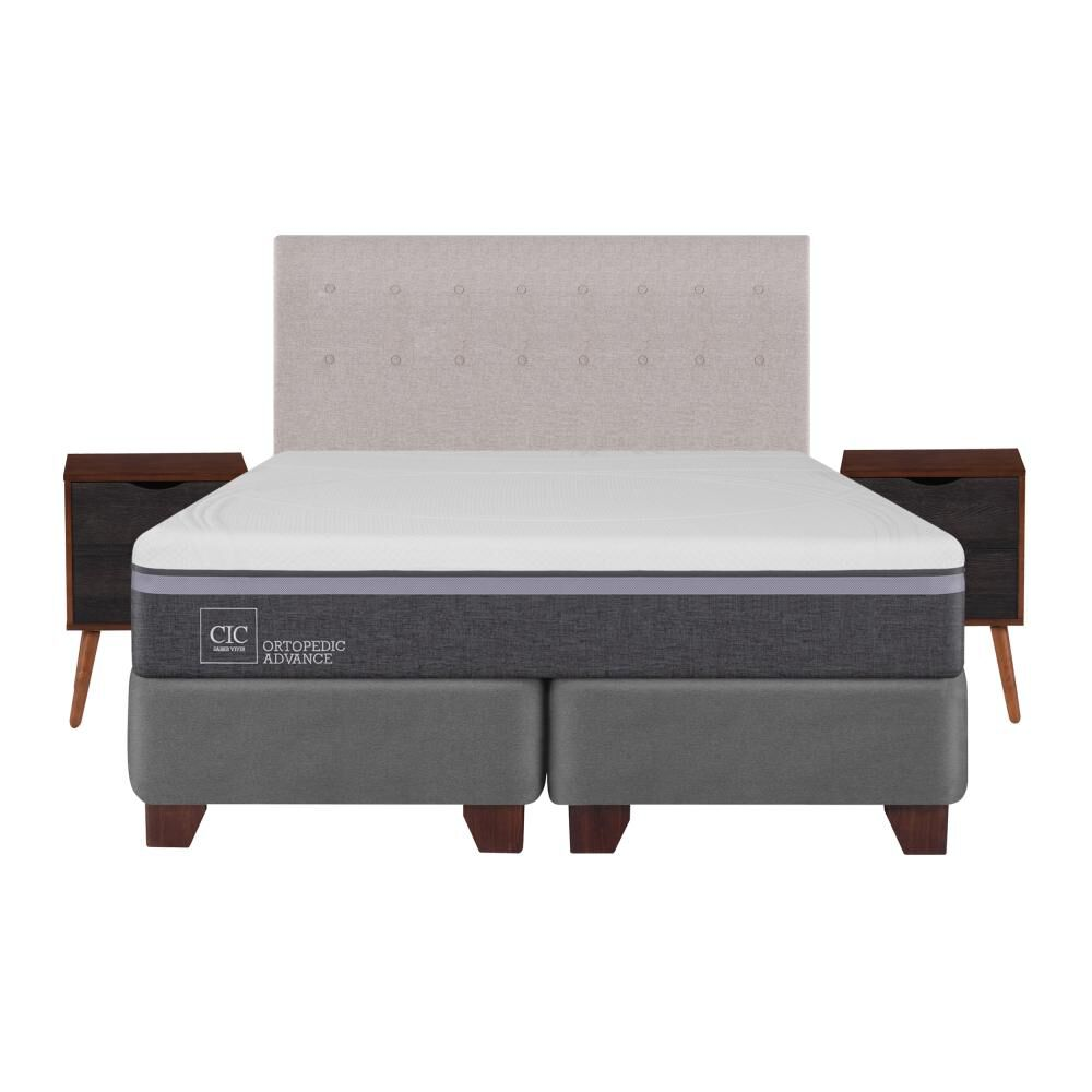 Box Spring Cic Ortopedic / King / Base Dividida  + Set De Maderas image number 1.0