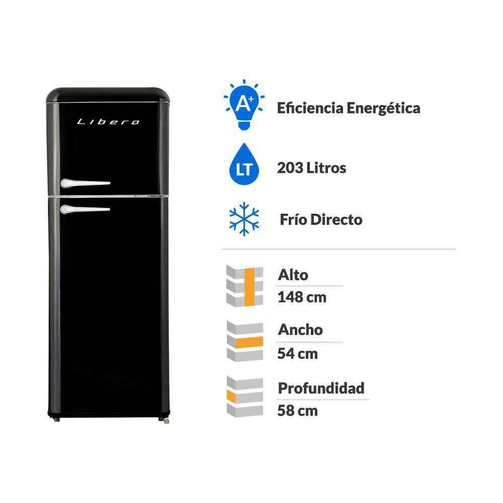 Refrigerador Libero Retro Lrt-210Dfnr Negro / Frío Directo / 203 Litros image number 6.0