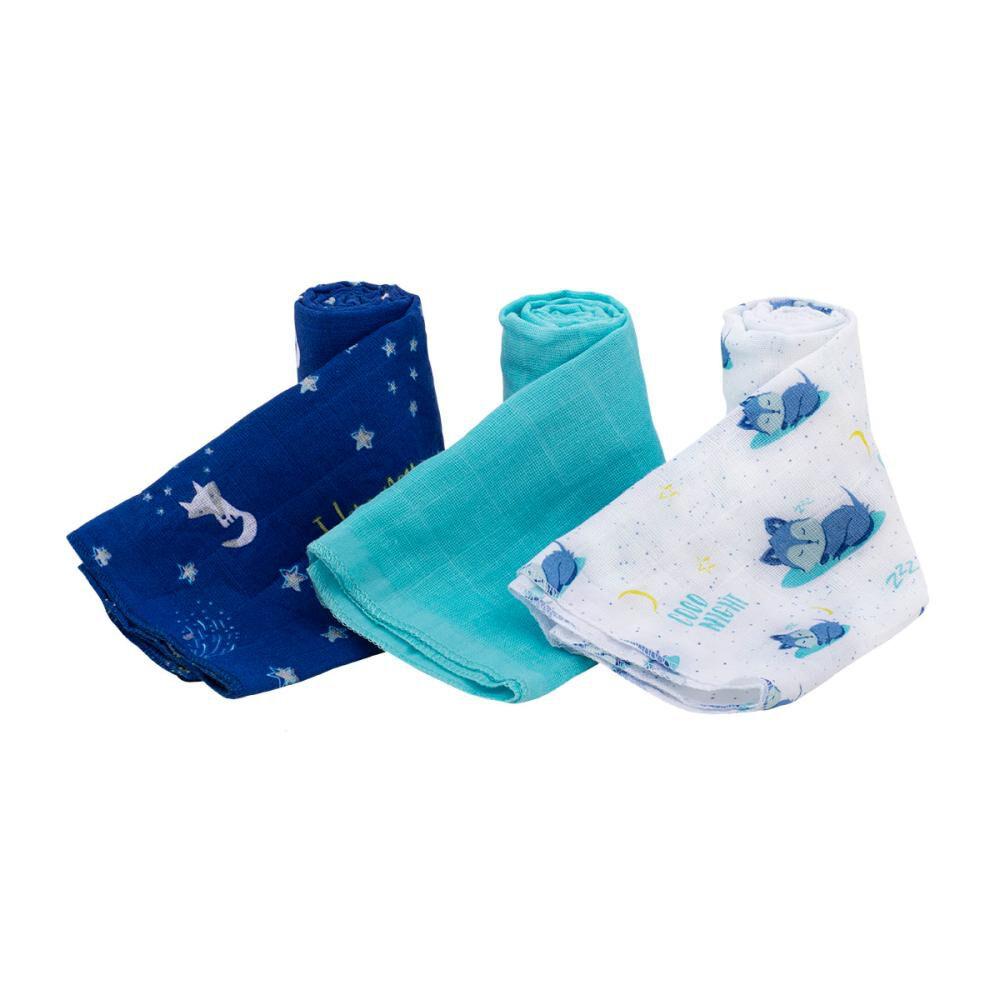 Pañales De Tela Bambino Tuto Azul Zorros Y Estrellas Blancas / 3 Unidades image number 1.0