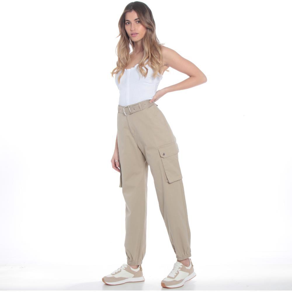 Pantalones Cargo Basta Elasticada Pretina Basica Tiro Alto Mujer Wados image number 2.0
