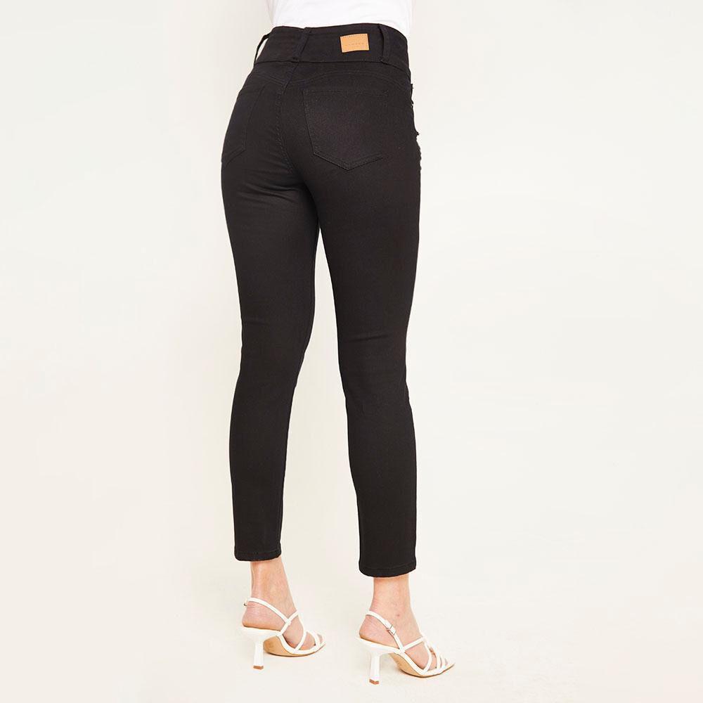 Jeans Color Tiro Alto Skinny Push Up Con Roturas Mujer Kimera image number 2.0