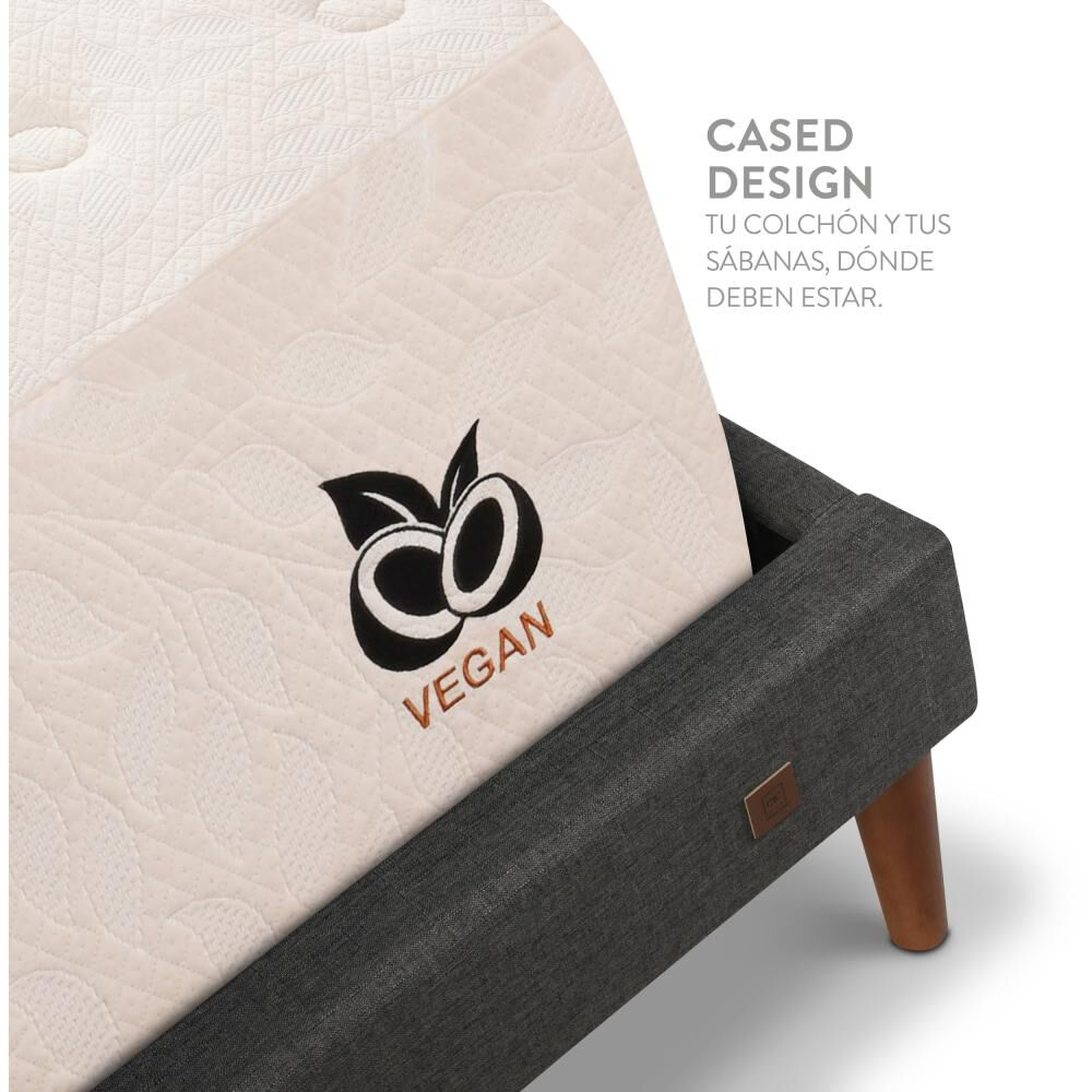 Cama Europea Cic Cocopedic / 2 Plazas / Base Normal + Set De Maderas + Textil image number 5.0