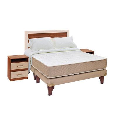Cama Europea Celta Bamboo / 2 Plazas / Base Dividida  + Set De Maderas + Textil