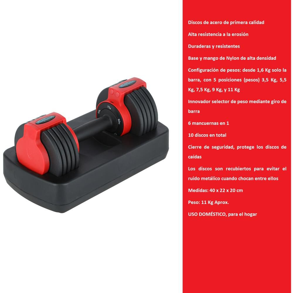 Mancuerna Ajustable Bodytrainer Dumbbell 11a image number 1.0