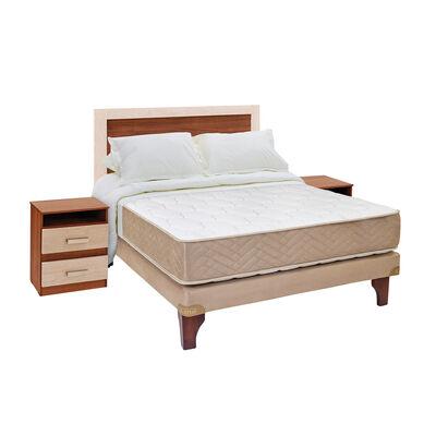 Cama Europea Celta Bamboo / 2 Plazas / Base Normal  + Set De Maderas + Textil