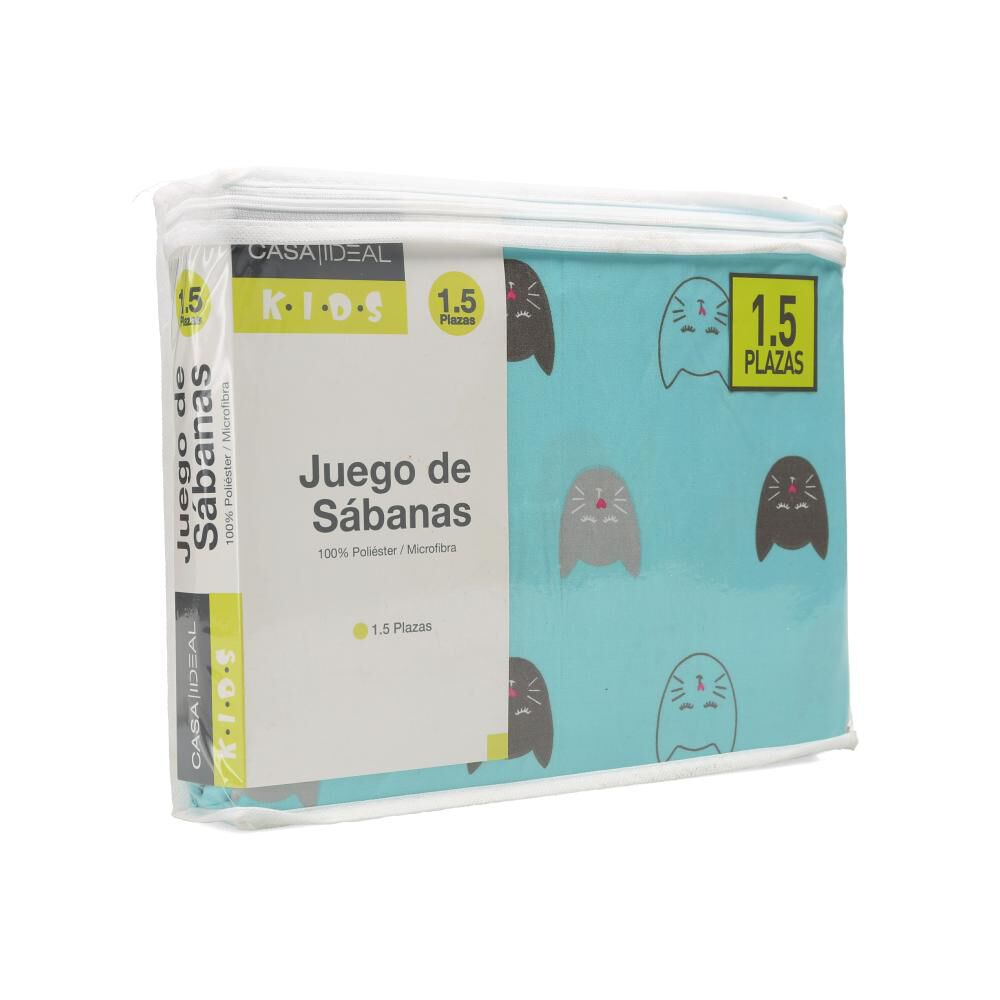 Juego De Sábanas Casaideal Kids Gatita Aqua / 1.5 Plazas image number 3.0
