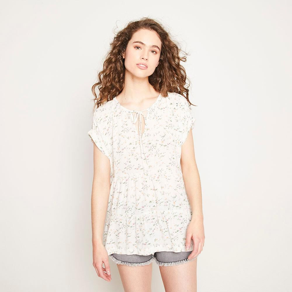 Blusa Relaxed Fit Manga Corta Cuello Redondo Con Lazo Mujer Freedom image number 0.0