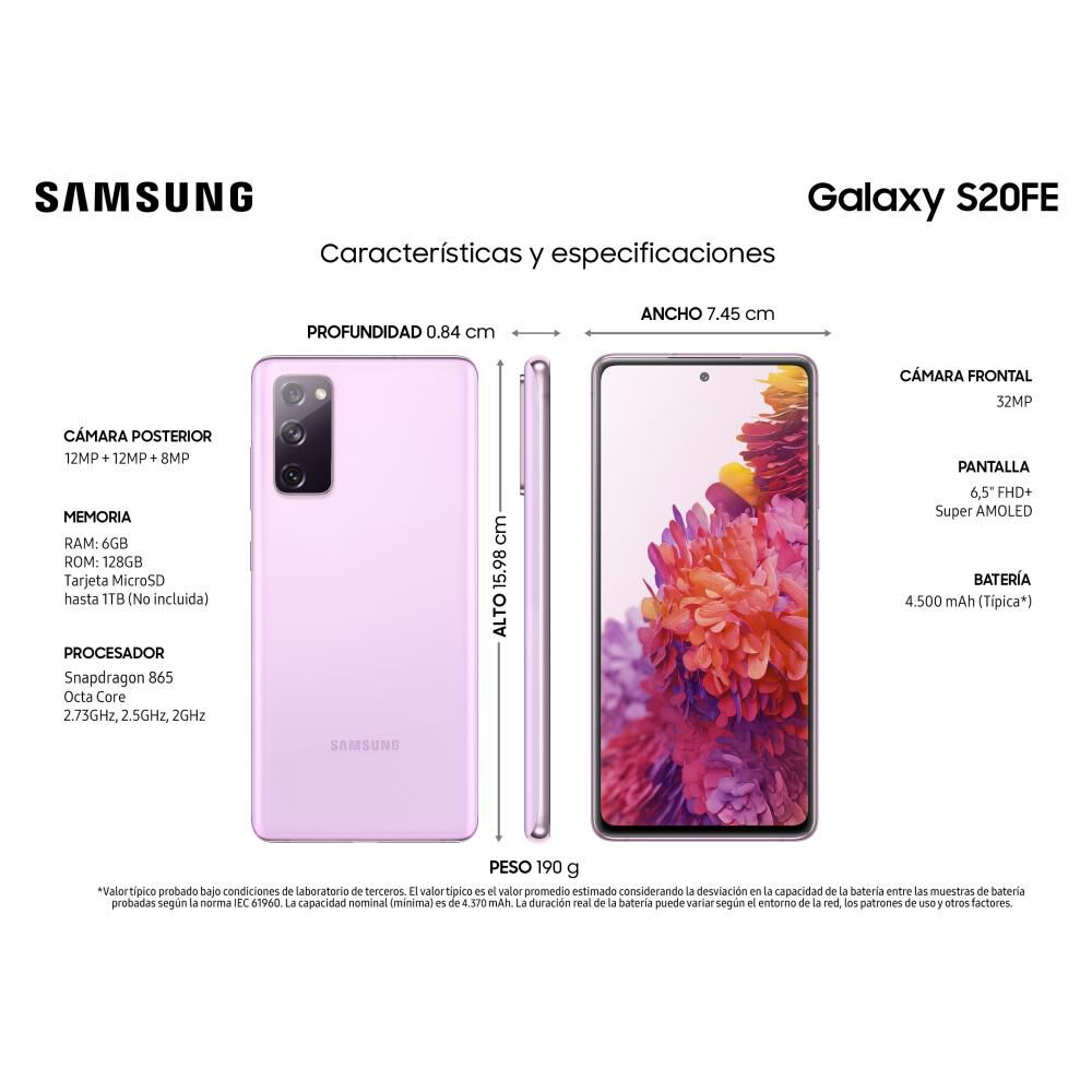 Smartphone Samsung Galaxy S20fe Morado / 128 Gb / Liberado image number 2.0
