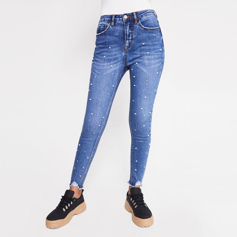 Jeans Mujer Tiro Medio Skinny Rolly go image number 0.0
