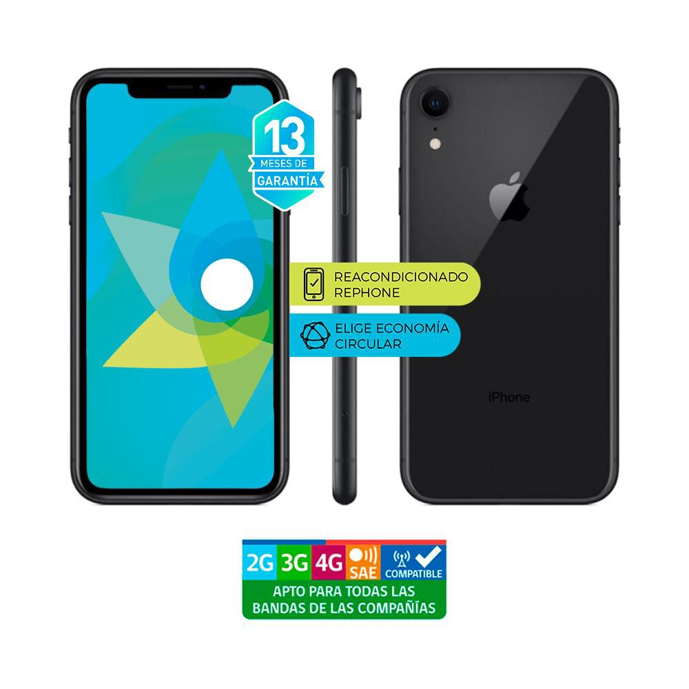 Smartphone Apple Iphone Xr Reacondicionado Negro / 128 Gb / Liberado image number 3.0