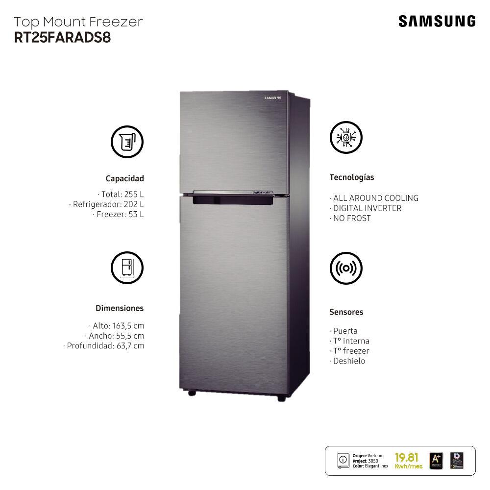 Refrigerador Top Freezer Samsung RT25FARADS8/ZS / No Frost / 255 Litros image number 9.0