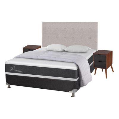 Box Spring Cic Ortopedic / 2 Plazas / Base Normal  + Set De Maderas + Textil