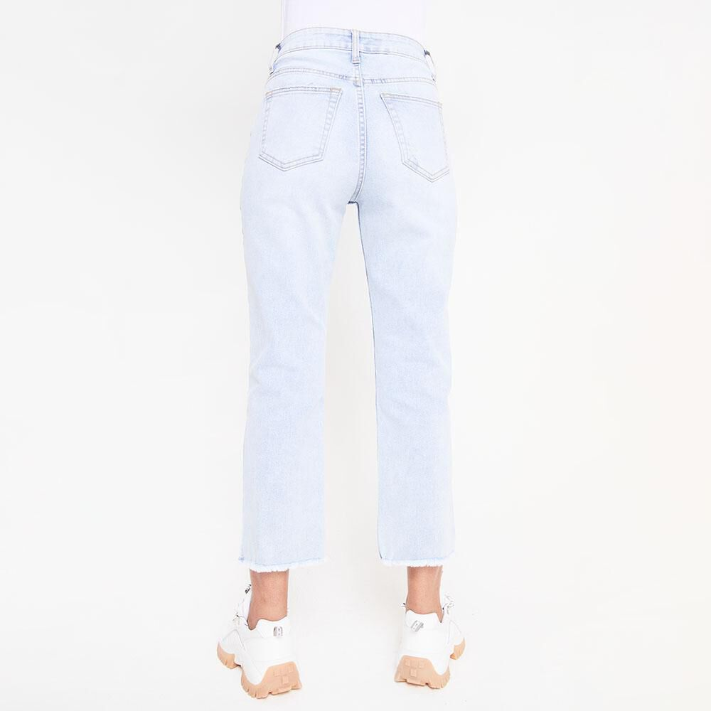Jeans Tiro Alto Crop Botones Mujer Rolly Go image number 4.0