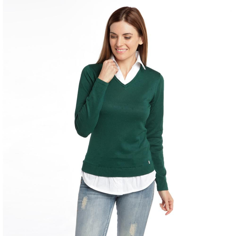 """Sweater Liso Cuello V Mujer Bny""""S image number 3.0"""