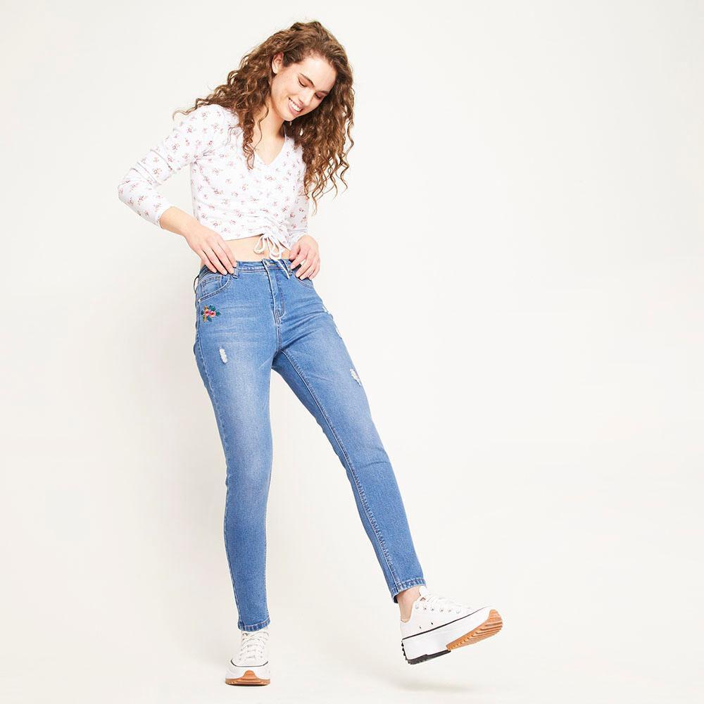 Jeans Bordado Tiro Alto Super Skinny Con Roturas Mujer Freedom image number 1.0