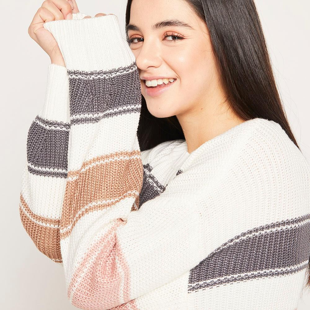 Sweater Lineas Relaxed Fit Cuello Redondo Mujer Freedom image number 3.0