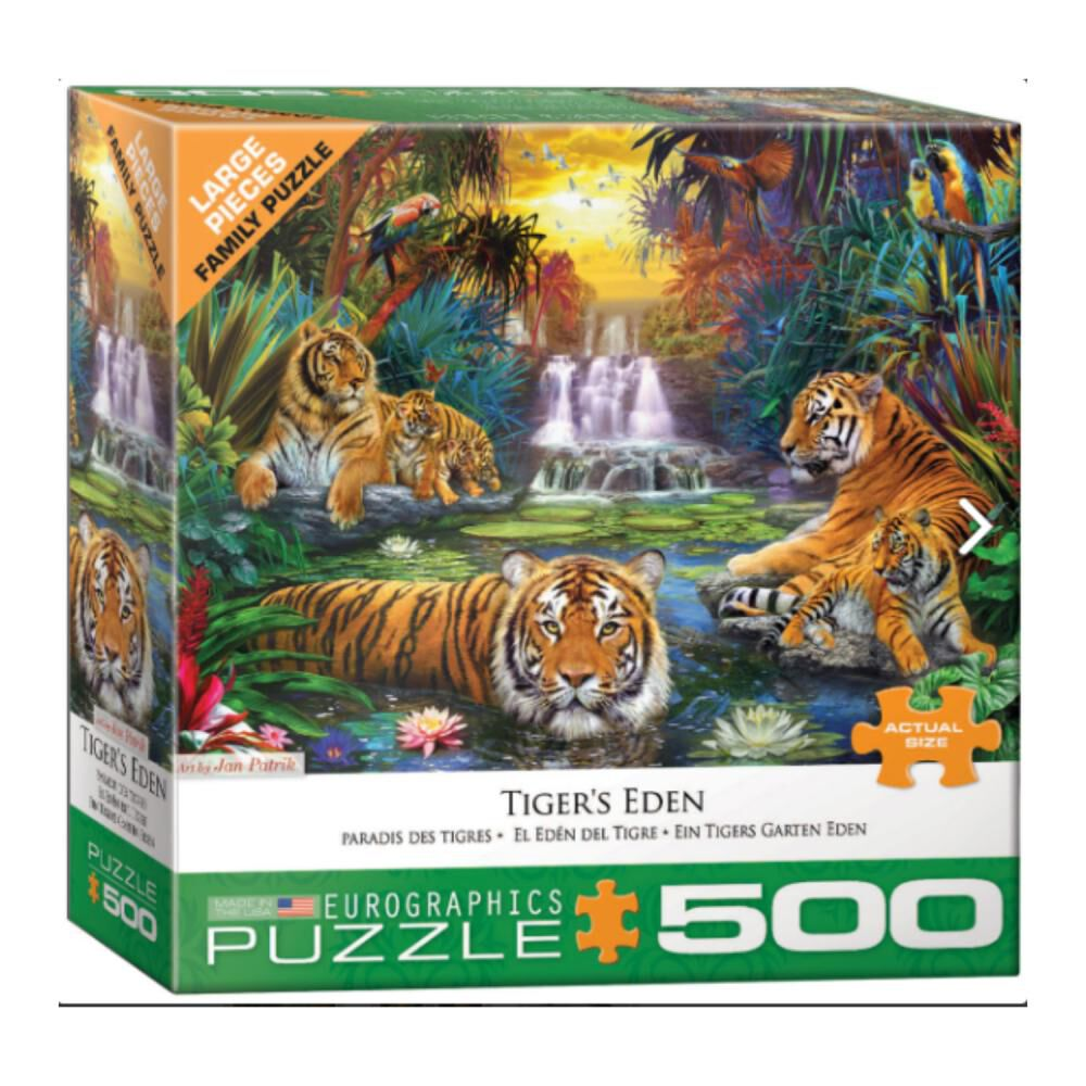 Puzzle Eurographics 8500-5457 Tiger's Eden By Jan image number 0.0