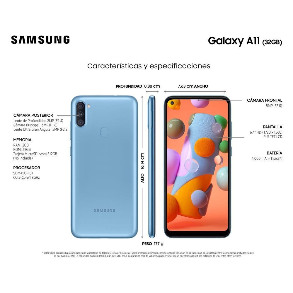Smartphone Samsung Galaxy A11  Azul  /  32 Gb   /  Liberado image number 2.0