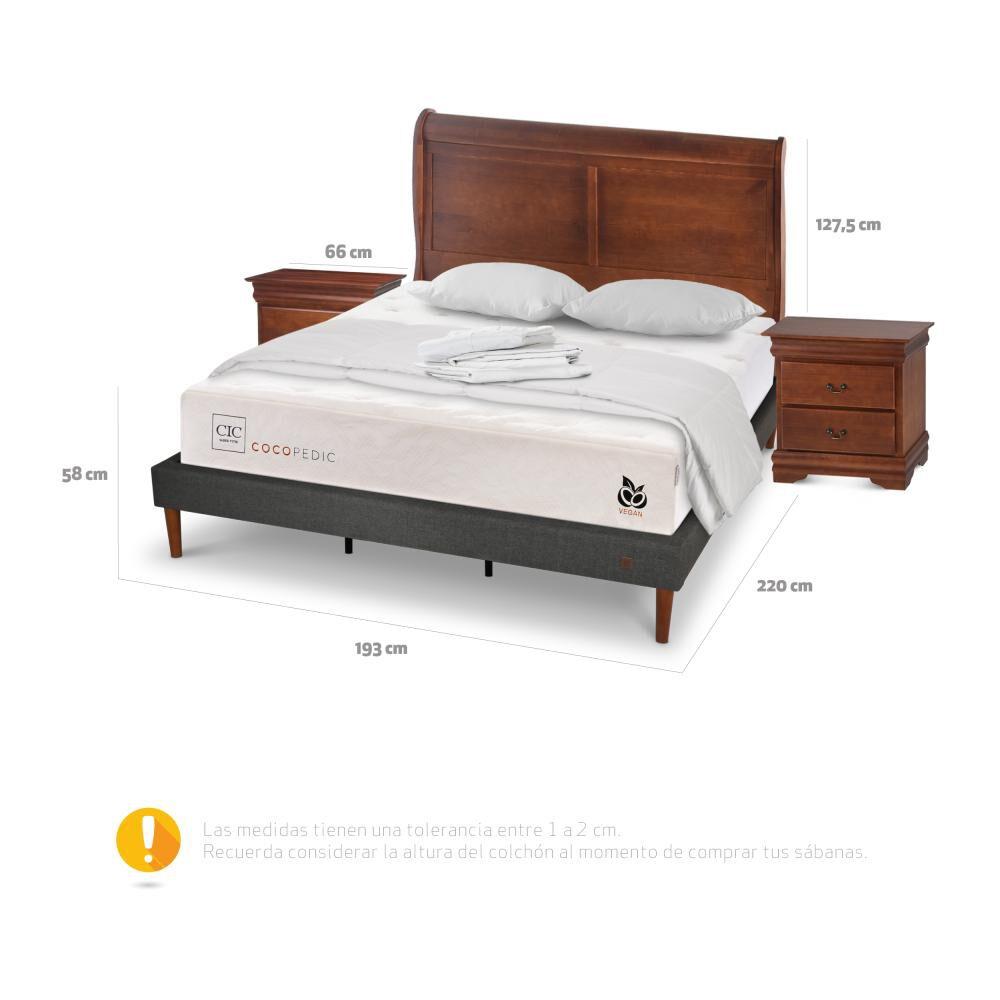 Cama Europea Cic Cocopedic / King / Base Normal + Set De Maderas + Textil image number 4.0