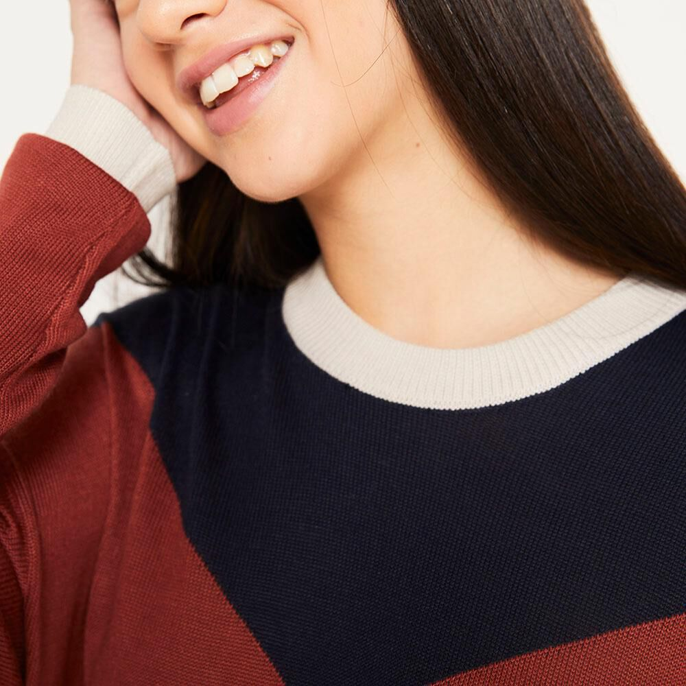 Sweater Bloque Regular Fit Cuello Redondo Mujer Freedom image number 3.0
