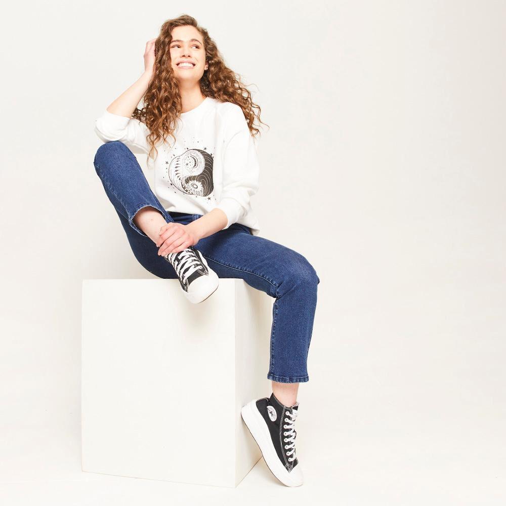 Jeans Pretina Ancha Botones Tiro Alto Sculpture Mujer Freedom image number 1.0