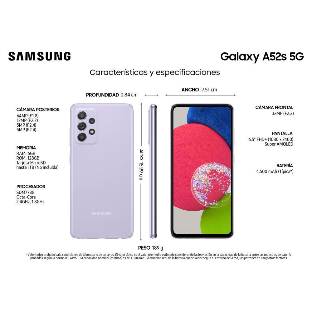 Smartphone Samsung Galaxy A52S Morado / 128 Gb / Liberado image number 6.0