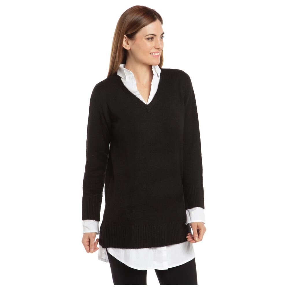 """Sweater Liso Largo Cuello V Mujer Bny""""S image number 3.0"""