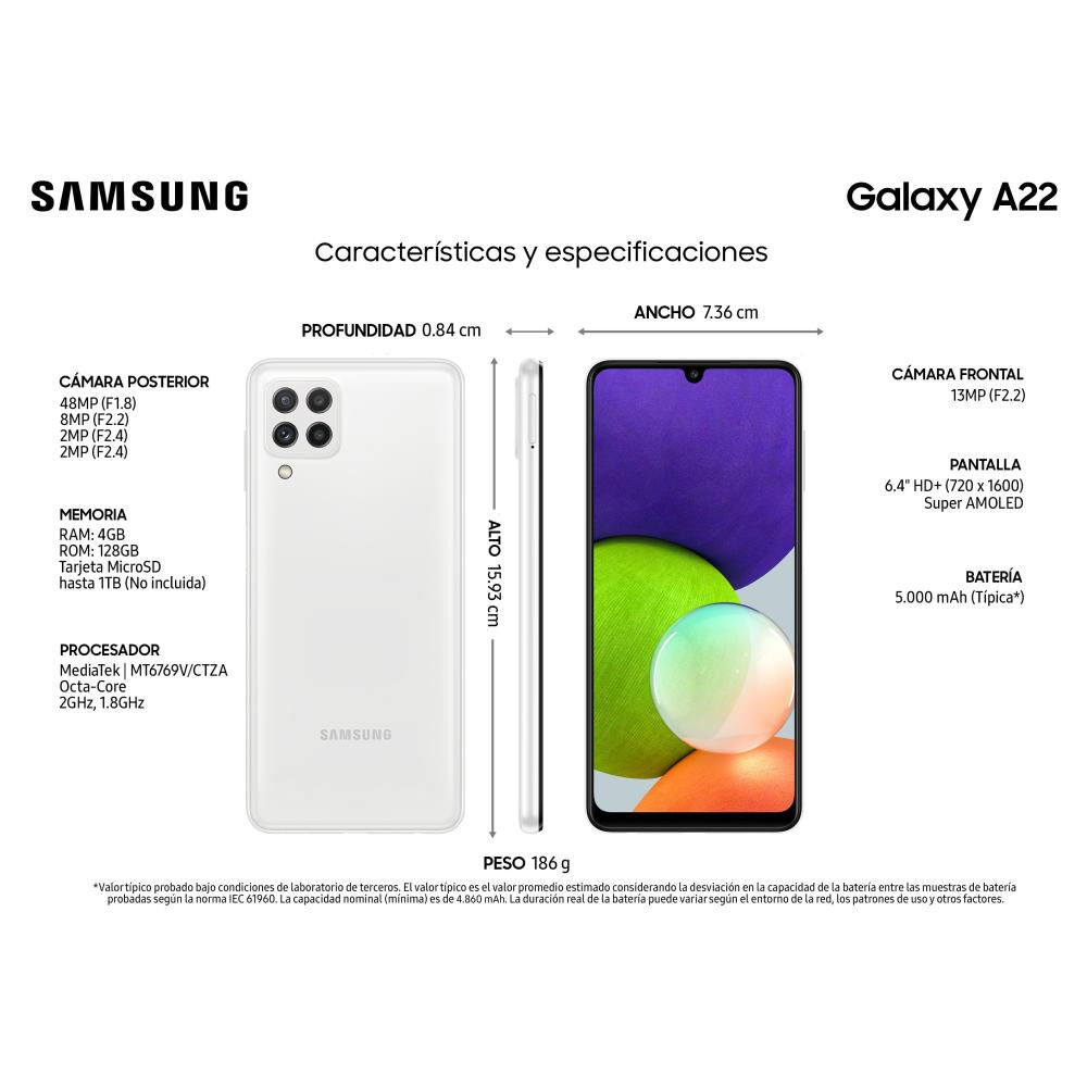 Smartphone Samsung Galaxy A22 Blanco / 128 Gb / Liberado image number 1.0