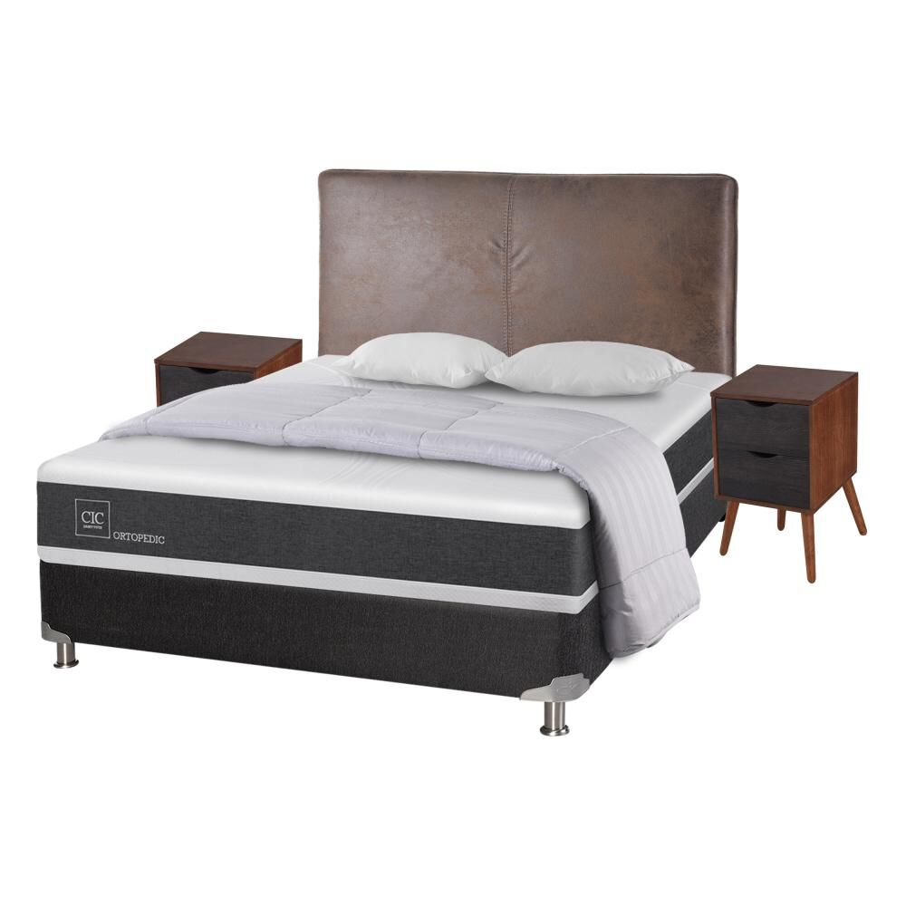 Box Spring Cic Ortopedic / 2 Plazas / Base Normal  + Set De Maderas + Almohada image number 1.0