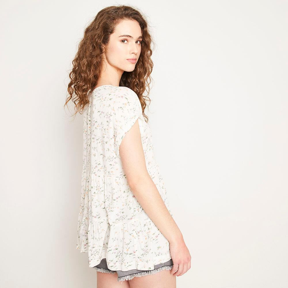 Blusa Relaxed Fit Manga Corta Cuello Redondo Con Lazo Mujer Freedom image number 2.0