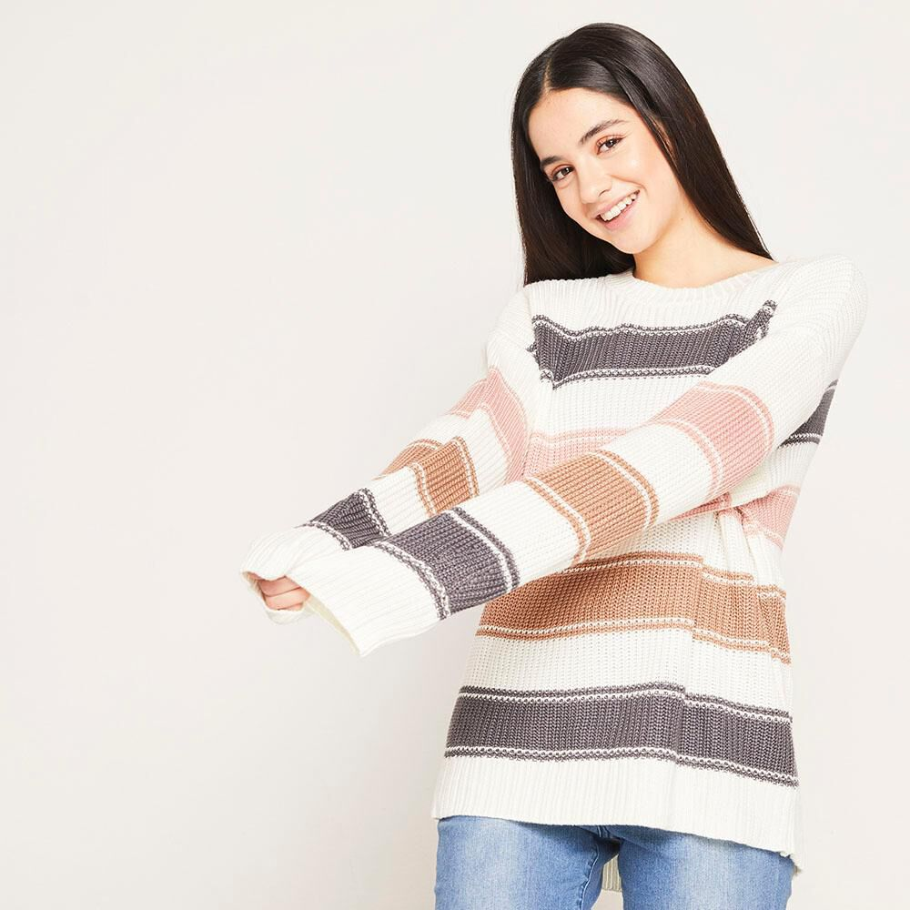 Sweater Lineas Relaxed Fit Cuello Redondo Mujer Freedom image number 0.0
