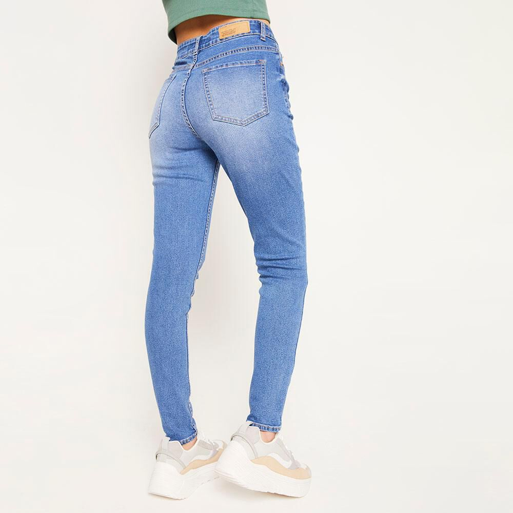 Jeans 5 Botones Tiro Alto Skinny Con Roturas Mujer Freedom image number 2.0
