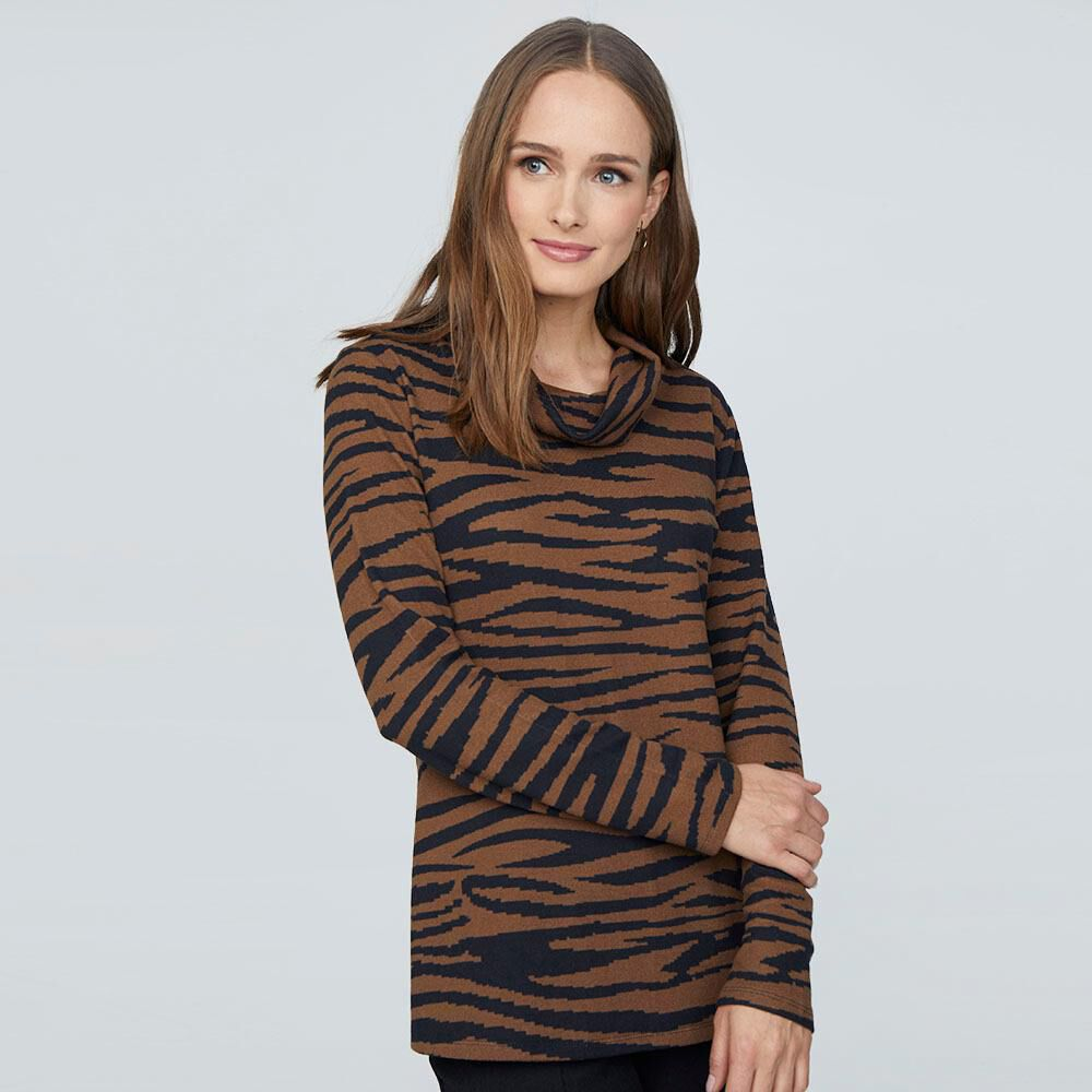 Sweater Estampado Cuello Alto Mujer Lesage image number 0.0