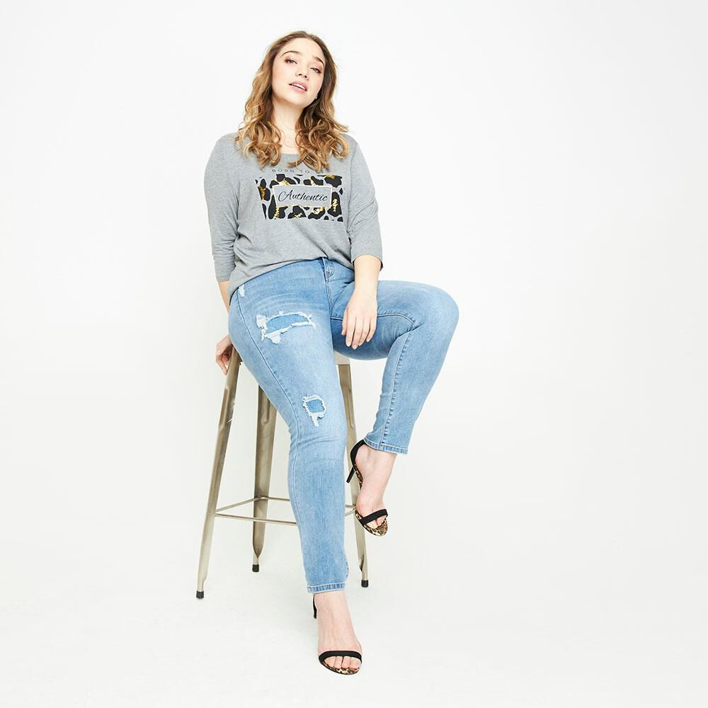 Jeans Tiro Alto Skinny Con Roturas Mujer Sexy Large image number 1.0