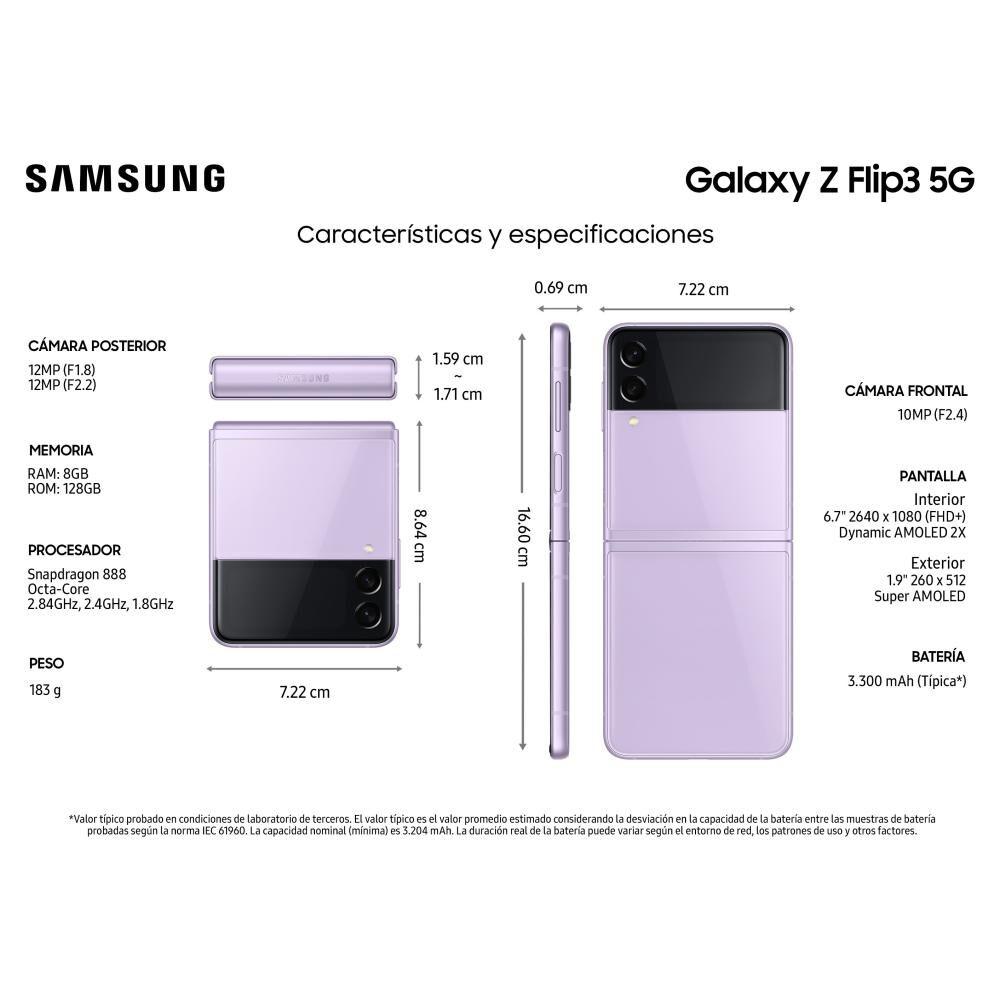 Smartphone Samsung Galaxy Z Flip 3 Violeta / 128gb / Liberado image number 2.0