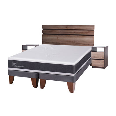 Cama Europea Cic New Ortopedic / 2 Plazas / Base Dividida + Set De Maderas