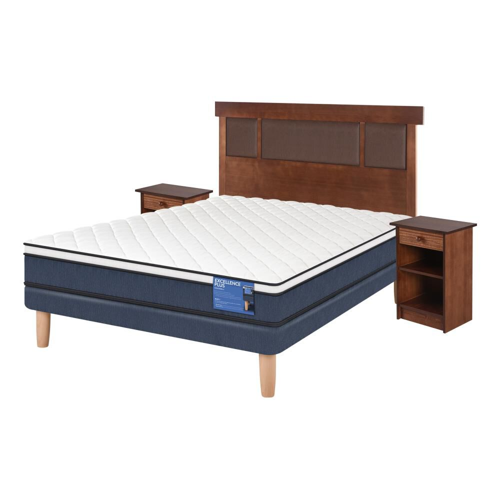Cama Europea Cic Excellence Plus / 2 Plazas / Base Normal  + Set De Maderas image number 1.0