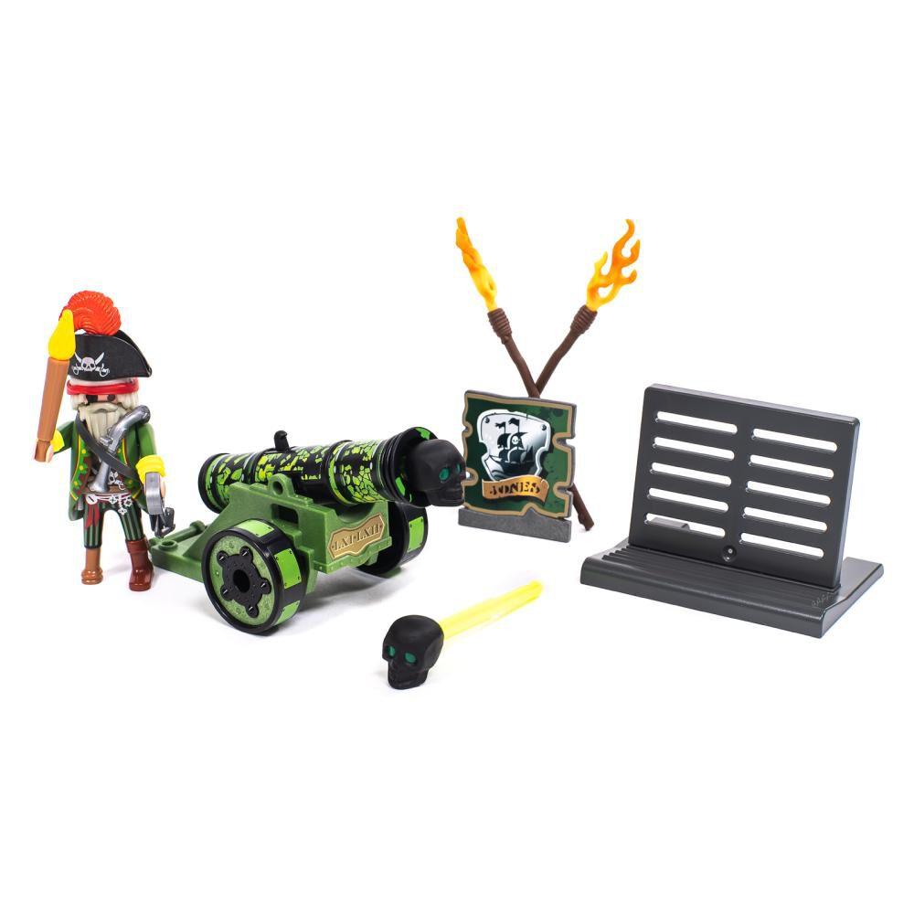 Figura Coleccionable Playmobil Cañón Interactivo Verde Con Capitán Pirata image number 0.0
