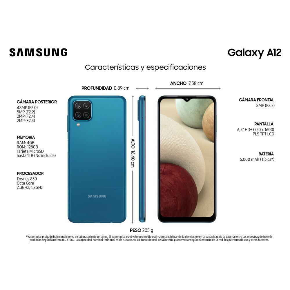 Smartphone Samsung Galaxy A12 Azul / 128 Gb / Liberado image number 2.0