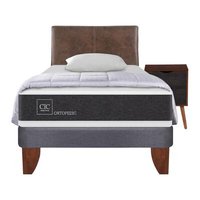 Cama Europea Cic Ortopedic / 1.5 Plazas / Base Normal  + Set De Maderas + Textil