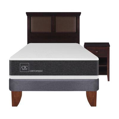 Cama Europea Cic Ortopedic / 1.5 Plazas / Base Normal  + Set De Maderas