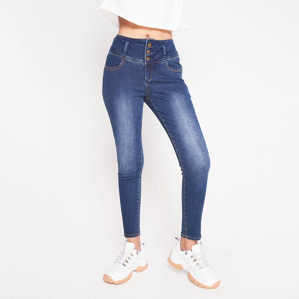 Jeans Tiro Alto Con Almohadillas Rolly Go image number 0.0