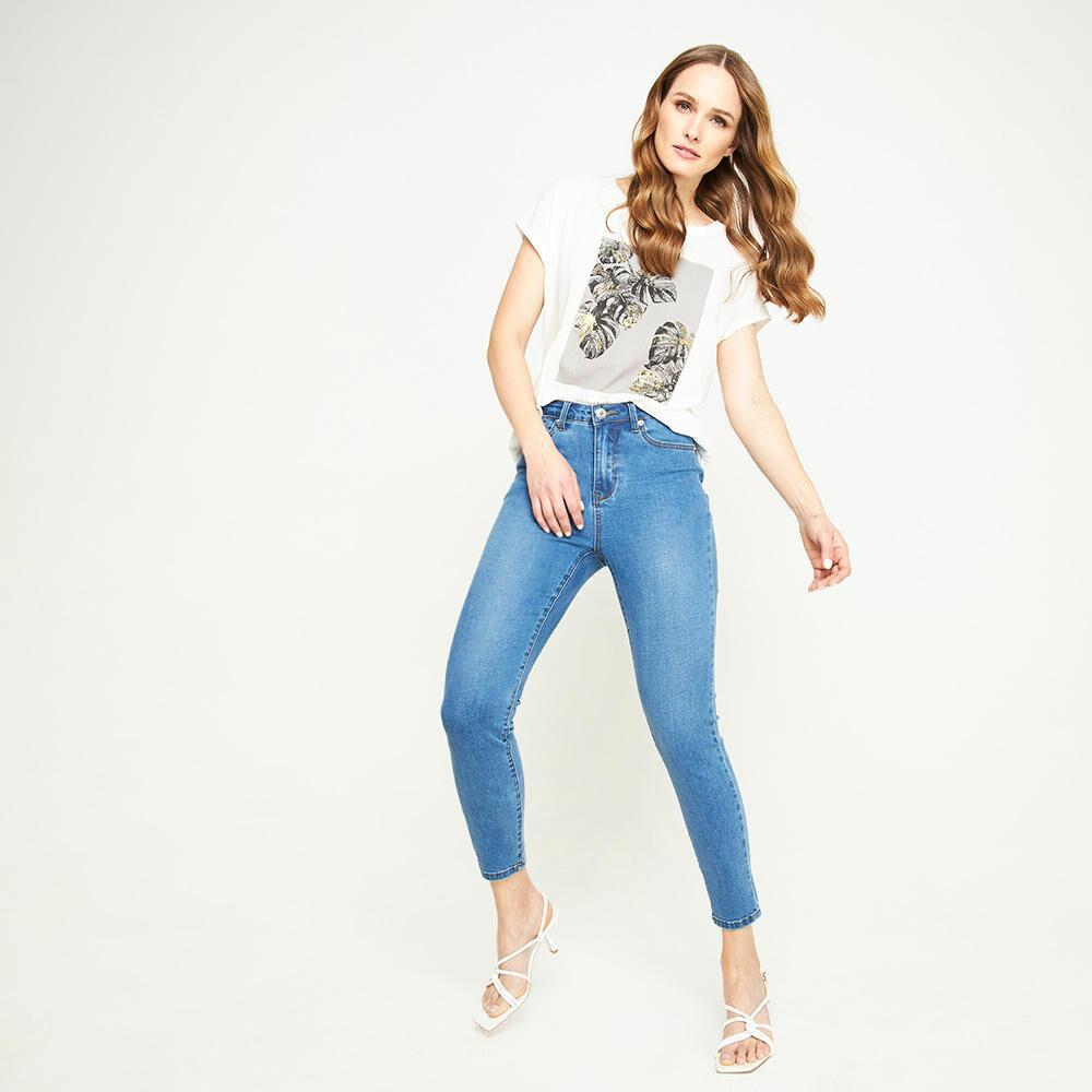 Jeans Tiro Medio Skinny Push Up Mujer Kimera image number 1.0