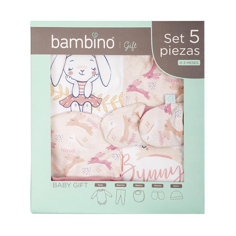 Set de 5 Piezas Baby Gift Conejo Rosado Bambino  image number 1.0