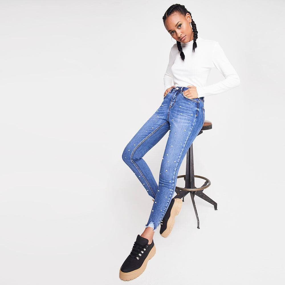 Jeans Mujer Tiro Medio Skinny Rolly go image number 1.0