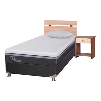 Box Spring Cic Ortopedic B5. / 1.5 Plazas / Base Normal  + Set De Maderas + Almohada
