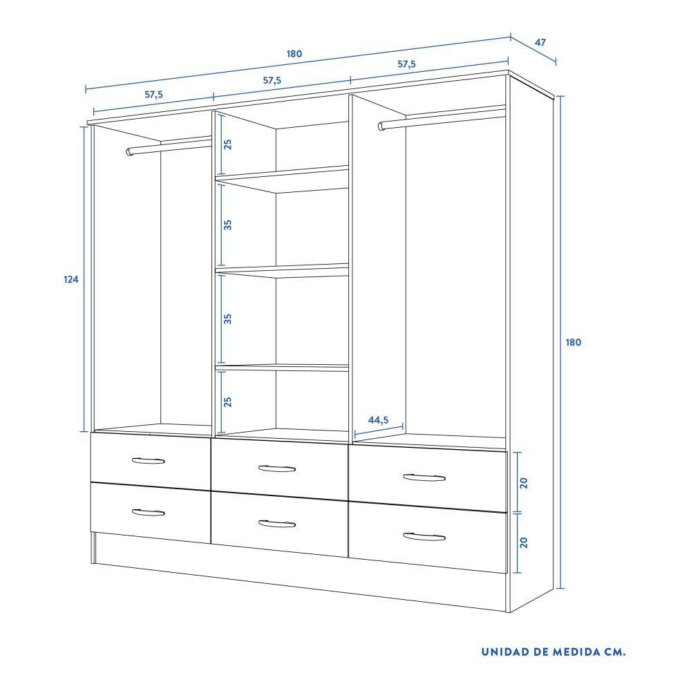Closet Cic Maipo / 6 Puertas / 6 Cajones image number 4.0