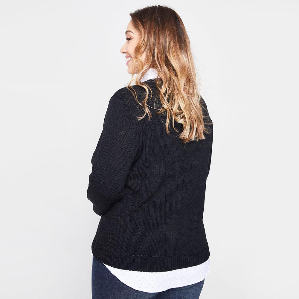Sweater Trenzado Con Blusa Falsa Cuello V Mujer Sexy Large image number 2.0