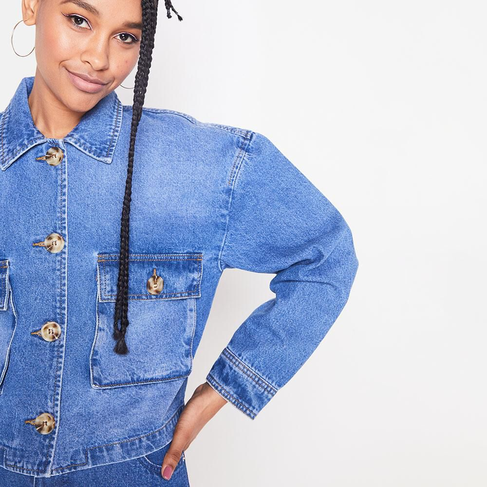 Chaqueta Denim Oversize Mujer Rolly Go image number 3.0